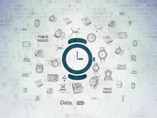 Timeline concept: Hand Watch on Digital Data Paper background