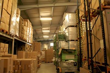 Lagerhalle / Warenlager mit Kartons, Innenaufnahme