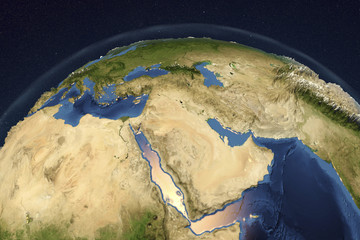 Planet Earth from space showing Arabian Peninsula, 3D illustration, Elements of this image furnished by NASA