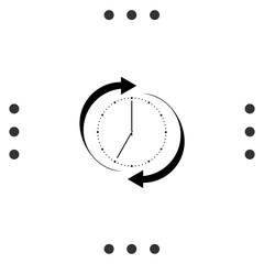 Refresh clock icon. Reload sign. Repeat clock symbol.
