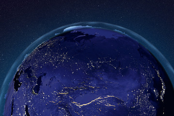 Planet Earth from space showing Russia in night with enhanced bump, 3D illustration, Elements of this image furnished by NASA