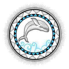 Vector illustration of dotted humpback whale and round mandala in black and blue isolated on white background. Aquatic theme with whale for summer or tattoo design in trendy dotwork style.
