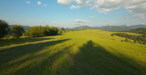 Panoramic view of a meadow and mountains in Slovakia