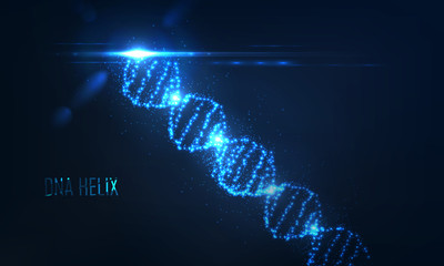 Nenon dna helix consist of glowing particles .