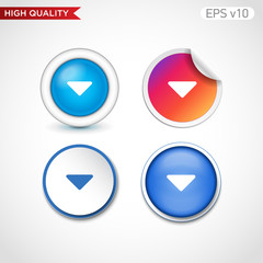Colored icon or button of down arrow symbol with background