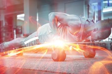Athlete doing push-ups with kettlebells