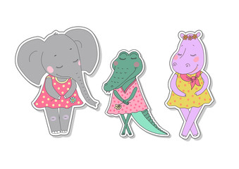 Hippo, elephant and crocodile girls with closed eyes