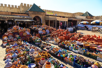 Colorful ceramic souvenirs in a shop in Morocco Meknes