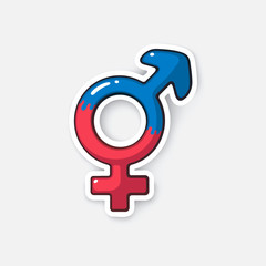 Cartoon sticker with transgender symbol