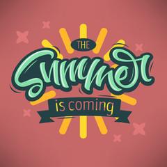 The Summer Is Coming Label Design Brush Script Lettering. Callig
