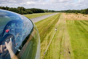 Start eines Segelflugzeuges an einer Seilwinde