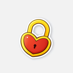 Vector illustration. Gold padlock in heart shape. Valentine's Day symbol. Cartoon sticker with contour. Decoration for greeting cards, posters, patches, prints for clothes, emblems