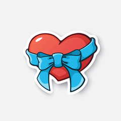 Vector illustration. Heart with ribbon and bow-knot. Cartoon sticker in comic style with contour. Decoration for greeting cards, posters, patches, prints for clothes, emblems