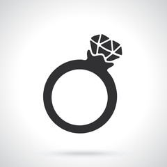 Vector illustration. Silhouette of ring with a diamond. Template or pattern. Decoration for greeting cards, wallpapers, emblems