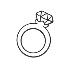 Vector illustration. Hand drawn doodle of ring with a diamond. Cartoon sketch. Decoration for greeting cards, posters, emblems
