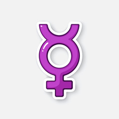 Vector illustration. Transgender Mercury symbol. Cartoon sticker in comic style with contour. Decoration for greeting cards, posters, patches, prints for clothes, emblems
