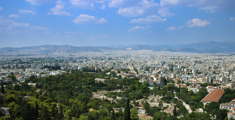 Panorama of Athens with the ancient Agora