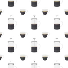 Glass cup of espresso and coffee press. Seamless pattern.