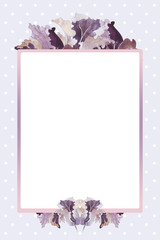 Template with a colored background and fiolet orchid flowers