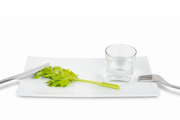 Stem of celery and glass of water isolated on white background.