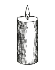 candle thick sketch on a white background. vector