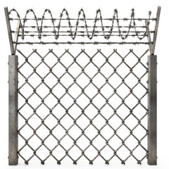 iron fence with barbed wire on an isolated white background. 3d illustration