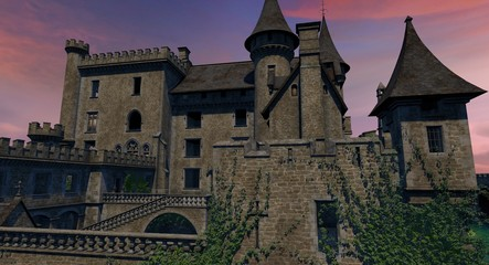 Castle Grounds at Sunset 3D Model