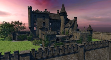 Castle At Sunset 3D Model