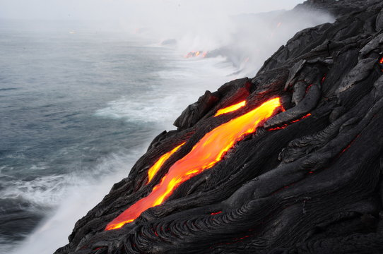 lava ocean entry in the morning