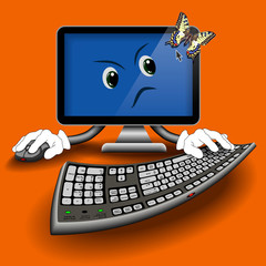 Cartoon computer with a butterfly
