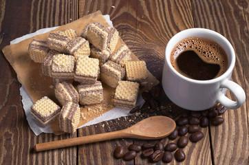 Coffee and chocolate wafers
