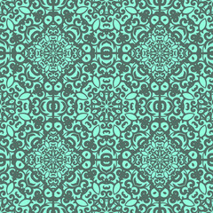 Vector seamless pattern with bright green ornament. Tile in Eastern style. Ornamental lace tracery. Ornate swirl geometrical decor for wallpaper. Traditional arabic mosaic design