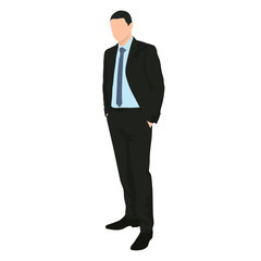 Business man standing in dark suit with hand in his pocket, isolated vector drawing, flat design icon