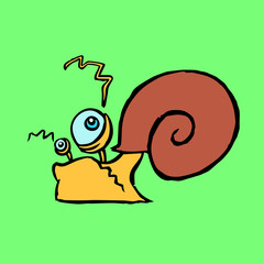 Funny cartoon colourful snail crawling somewhere vector illustration