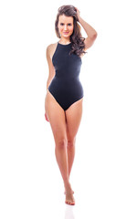 girl in black swimsuit