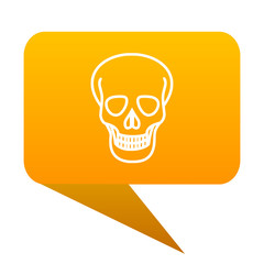 skull orange bulb web icon isolated.