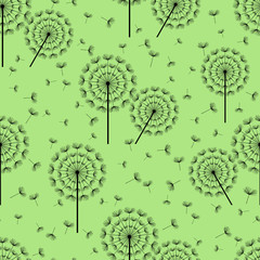 Green seamless pattern with black dandelions fluff