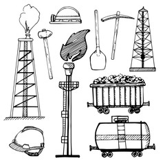 Industrial sketch icons. Industrial objects isolated on white background. Vector illustration.