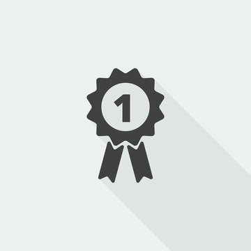 Black flat Prize Ribbon icon with long shadow on white backgroun