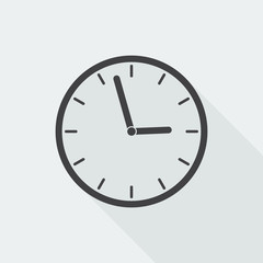 Black flat Clock icon with long shadow on white background