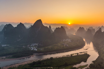 Sunrise Landscape of Guilin, Li River and Karst mountain in China.Morning in guilin.
