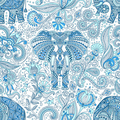 vector seamless background, hand-drawn blue tattoo doodle pattern with decorated Indian Elephant