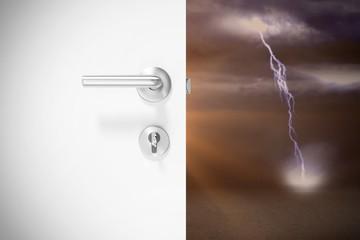 Composite image of closeup of door with metal doorknob and lock