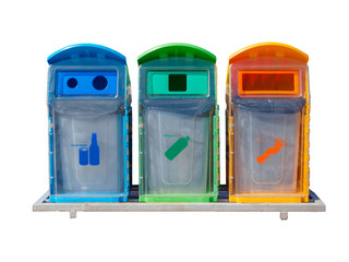 Different Colored Bins For Collection Of Recycle Materials Isolated on white background