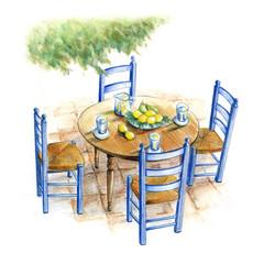 テラスのテーブル