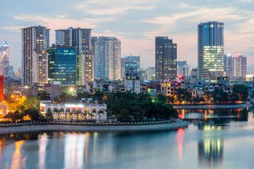 Aerial skyline view of Hanoi. Hanoi cityscape at twilight