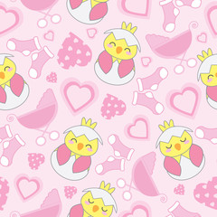 Baby shower seamless background with cute chick, baby cart, sock, and love shape suitable for baby shower wallpaper, scrap paper, and fabric