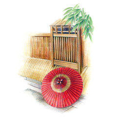 和傘と路地の風景