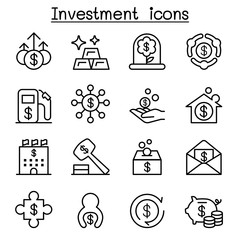 Business & Investment icon set in thin line style