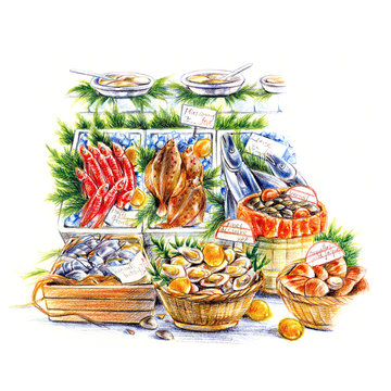 新鮮な魚市場